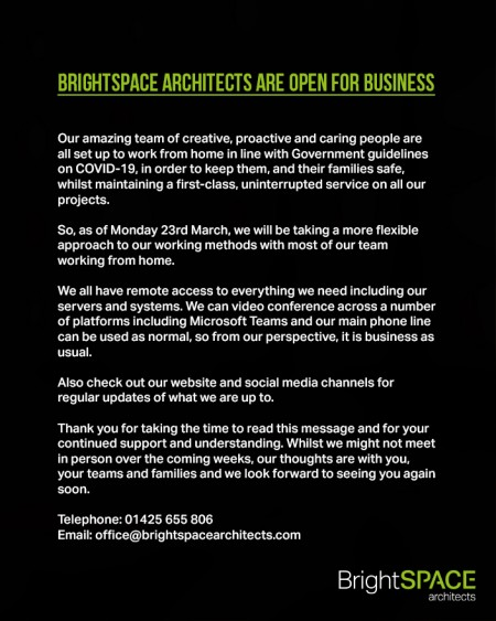 BrightSPACE Architects are open for business.
